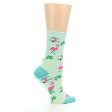 Image of Green Pink Tropical Florida Women's Dress Socks (side-1-24)