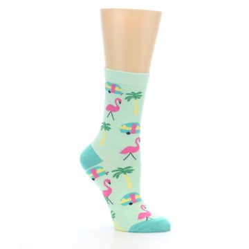 Image of Green Pink Tropical Florida Women's Dress Socks (side-1-26)