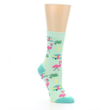 Image of Green Pink Tropical Florida Women's Dress Socks (side-1-27)