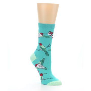 Image of Teal Hummingbird Women's Dress Socks (side-1-27)