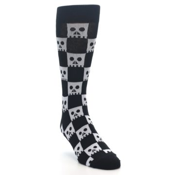 Image of Black White Skulls Men's Dress Socks (side-1-front-02)