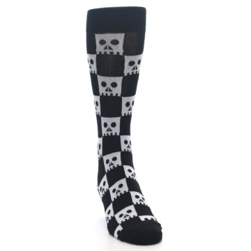 Image of Black White Skulls Men's Dress Socks (side-1-front-03)