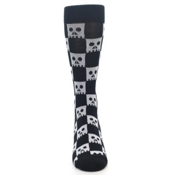 Image of Black White Skulls Men's Dress Socks (front-04)