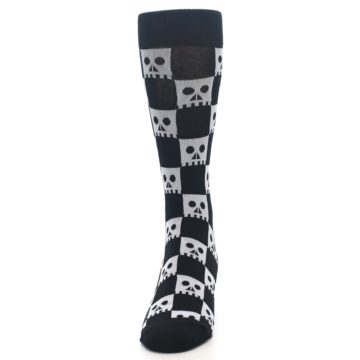 Image of Black White Skulls Men's Dress Socks (front-05)