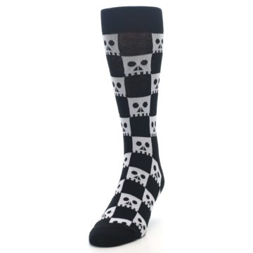 Image of Black White Skulls Men's Dress Socks (side-2-front-06)