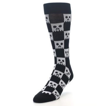 Image of Black White Skulls Men's Dress Socks (side-2-front-07)