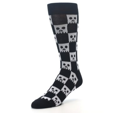 Image of Black White Skulls Men's Dress Socks (side-2-front-08)
