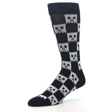 Image of Black White Skulls Men's Dress Socks (side-2-09)