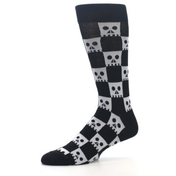 Image of Black White Skulls Men's Dress Socks (side-2-10)