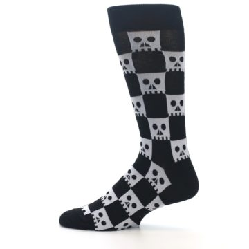 Image of Black White Skulls Men's Dress Socks (side-2-12)
