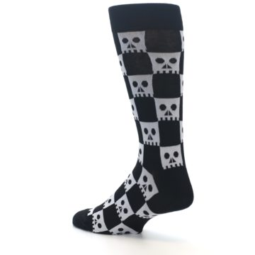 Image of Black White Skulls Men's Dress Socks (side-2-back-14)