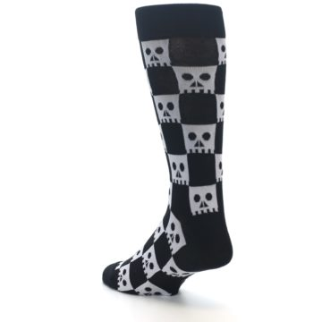 Image of Black White Skulls Men's Dress Socks (side-2-back-15)