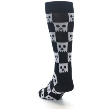 Image of Black White Skulls Men's Dress Socks (side-2-back-16)
