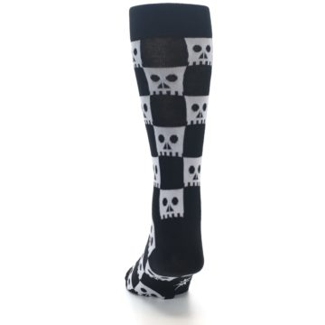 Image of Black White Skulls Men's Dress Socks (back-17)