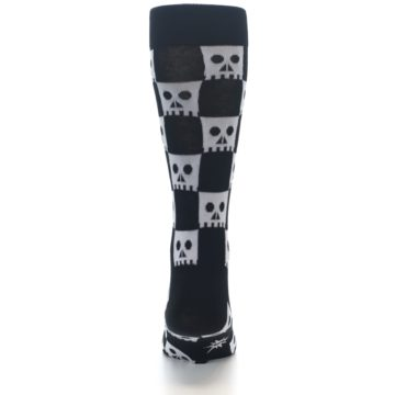 Image of Black White Skulls Men's Dress Socks (back-18)