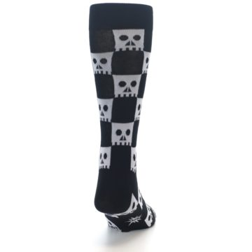 Image of Black White Skulls Men's Dress Socks (back-19)
