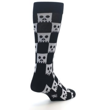 Image of Black White Skulls Men's Dress Socks (side-1-back-21)