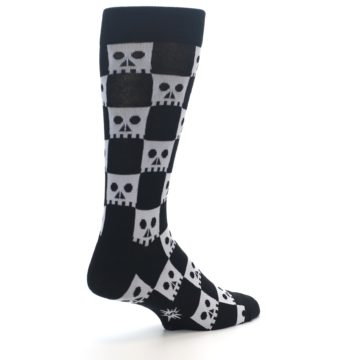 Image of Black White Skulls Men's Dress Socks (side-1-back-22)