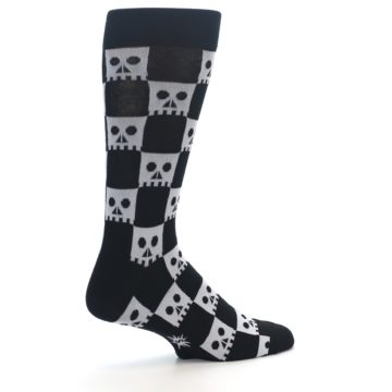Image of Black White Skulls Men's Dress Socks (side-1-23)