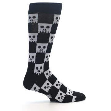 Image of Black White Skulls Men's Dress Socks (side-1-24)