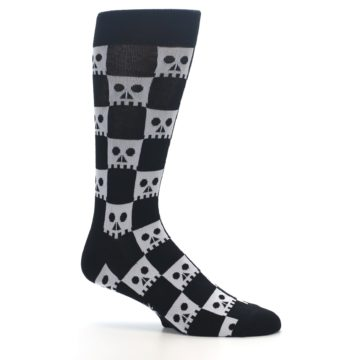 Image of Black White Skulls Men's Dress Socks (side-1-25)