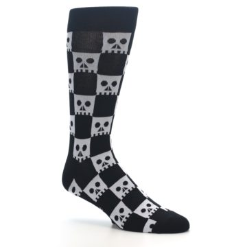 Image of Black White Skulls Men's Dress Socks (side-1-26)