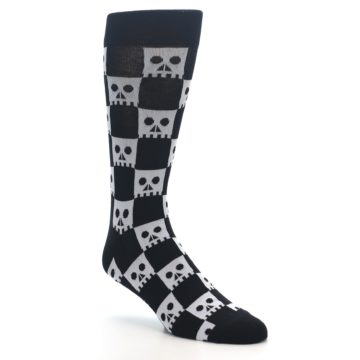 Image of Black White Skulls Men's Dress Socks (side-1-27)