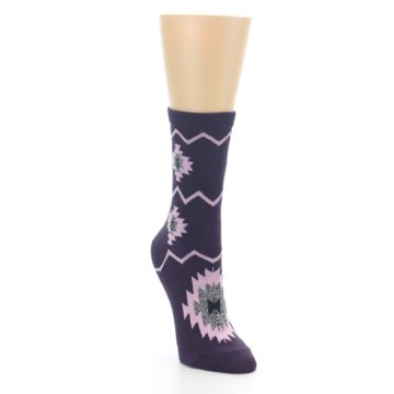 Image of Dark Purple Patterned Women's Dress Socks (side-1-front-02)