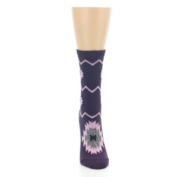 Image of Dark Purple Patterned Women's Dress Socks (front-04)