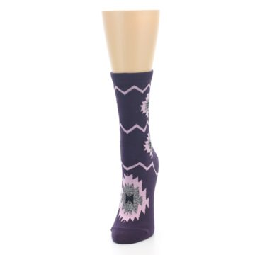 Image of Dark Purple Patterned Women's Dress Socks (side-2-front-06)