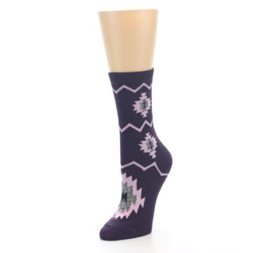 Image of Dark Purple Patterned Women's Dress Socks (side-2-front-08)