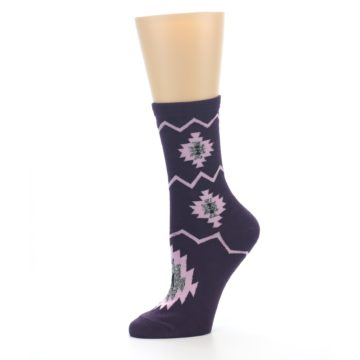 Image of Dark Purple Patterned Women's Dress Socks (side-2-10)