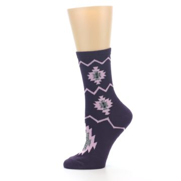 Image of Dark Purple Patterned Women's Dress Socks (side-2-11)