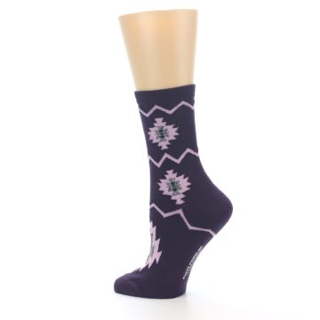 Image of Dark Purple Patterned Women's Dress Socks (side-2-13)