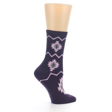Image of Dark Purple Patterned Women's Dress Socks (side-1-24)