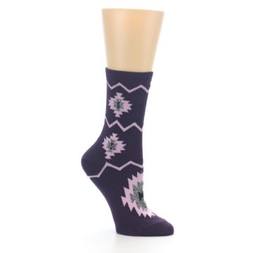 Image of Dark Purple Patterned Women's Dress Socks (side-1-26)