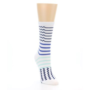 Image of White Navy Blue Stripe Women's Dress Socks (side-1-front-02)