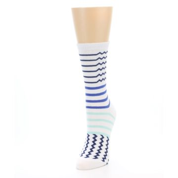 Image of White Navy Blue Stripe Women's Dress Socks (side-2-front-07)
