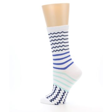 Image of White Navy Blue Stripe Women's Dress Socks (side-2-13)