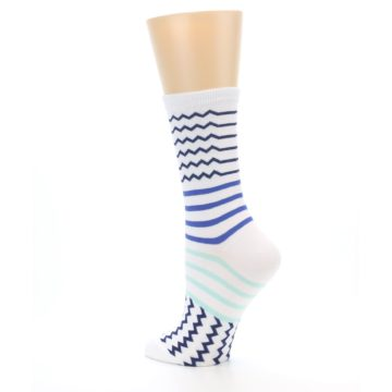Image of White Navy Blue Stripe Women's Dress Socks (side-2-back-14)