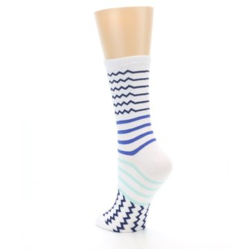 Image of White Navy Blue Stripe Women's Dress Socks (side-2-back-15)