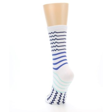Image of White Navy Blue Stripe Women's Dress Socks (side-2-back-16)