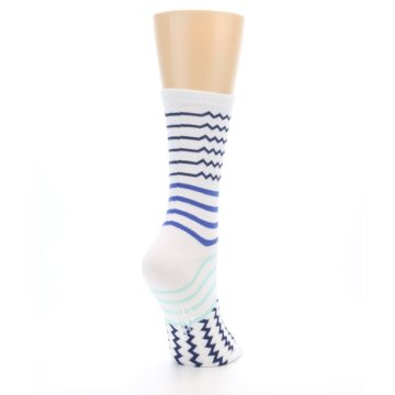 Image of White Navy Blue Stripe Women's Dress Socks (side-1-back-21)