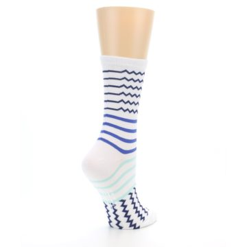 Image of White Navy Blue Stripe Women's Dress Socks (side-1-back-22)