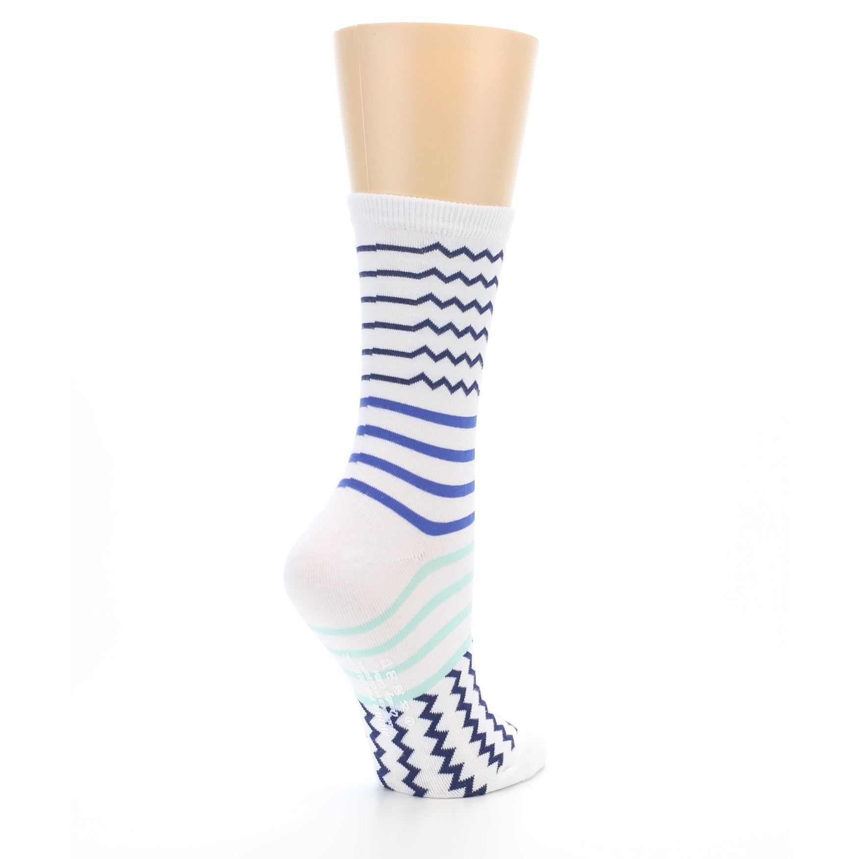 3fa9c80098d82 Image of White Navy Blue Stripe Women's Dress Socks (side-1-back-