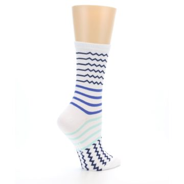 Image of White Navy Blue Stripe Women's Dress Socks (side-1-23)