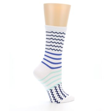 Image of White Navy Blue Stripe Women's Dress Socks (side-1-24)