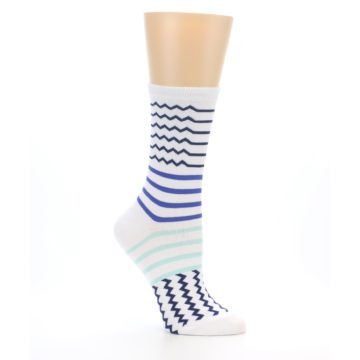 Image of White Navy Blue Stripe Women's Dress Socks (side-1-26)