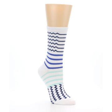 Image of White Navy Blue Stripe Women's Dress Socks (side-1-27)