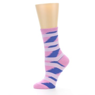Image of Pink Blue Stripe Pattern Women's Dress Socks (side-2-11)